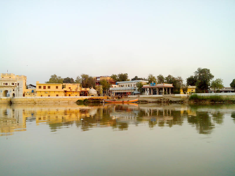 Sadhu Bela. A beautiful view of an small island. It is a religious place of Hindu which is called Sadhu Bela, Sukkur Sindh Pakistan royalty free stock photos
