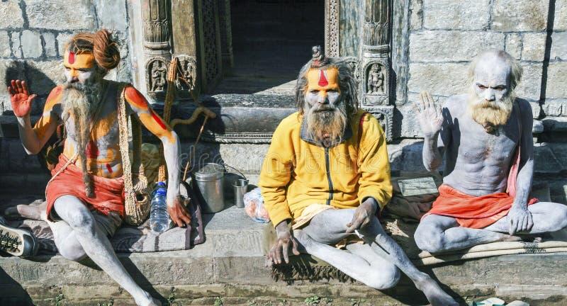 Sadhu ciała Kathmandu Nepal Hinduscy Malujący ludzie obrazy stock