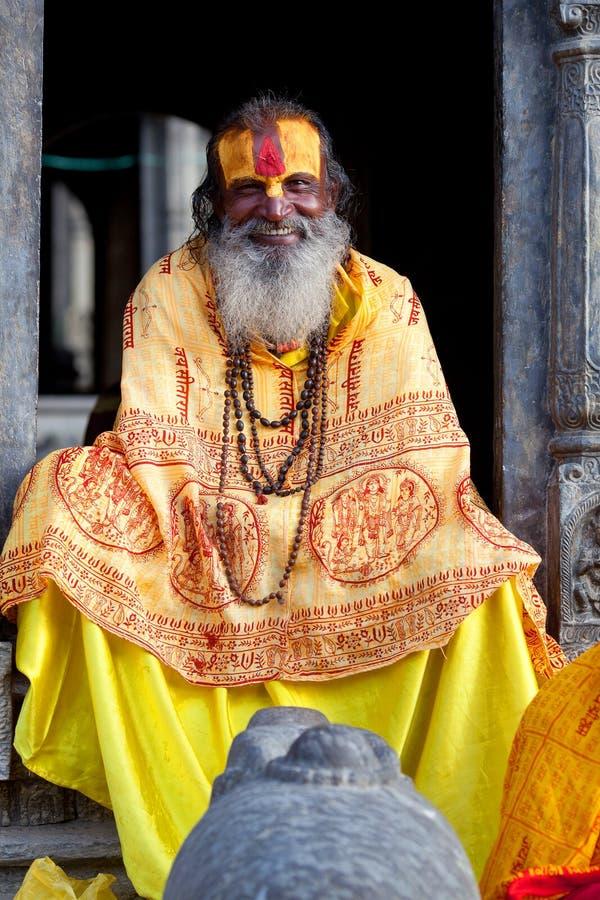 Sadhu de sorriso, Nepal foto de stock royalty free