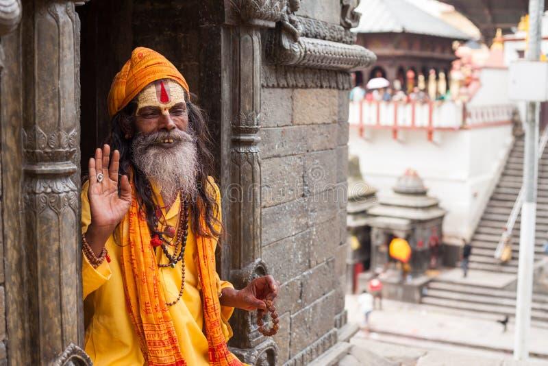 Sadhu em Pashupatinath fotografia de stock