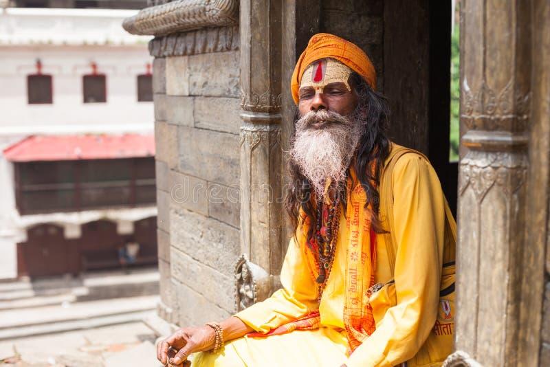 Sadhu em Pashupatinath imagem de stock