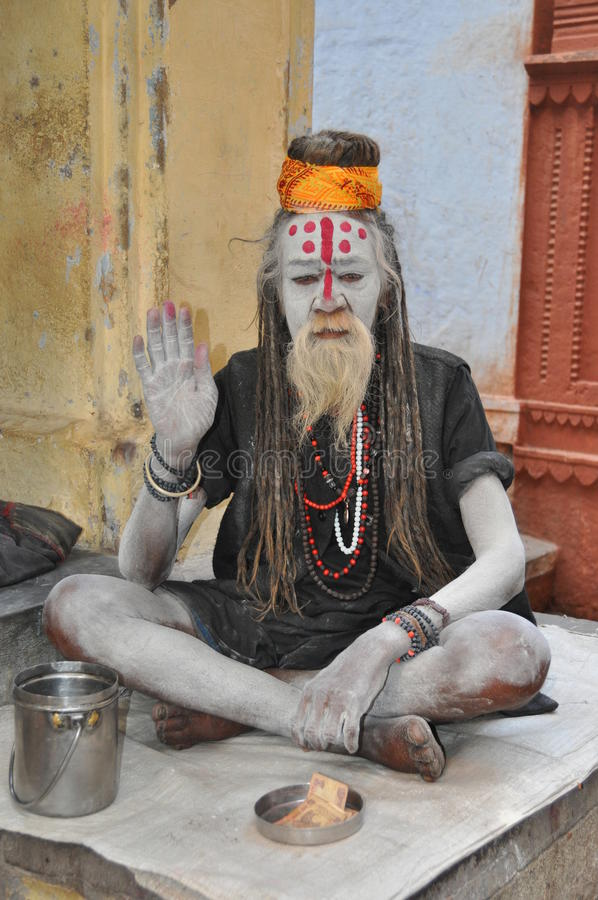 Sadhu (holy man) in Varanasi, India. February 2010, Varanasi (India) - A Sadhu (holy man) in the sacrest city of India, Varanasi stock images