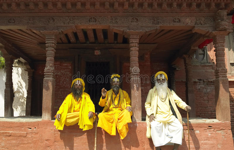 Sadhu - hommes saints - Katmandou - le Népal photos libres de droits