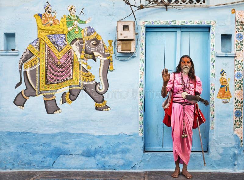 Sadhu i Udaipur fotografering för bildbyråer