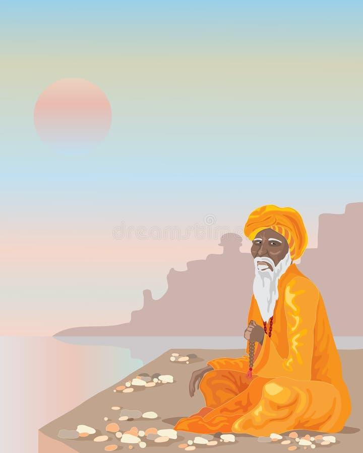 Sadhu indiano ilustração do vetor
