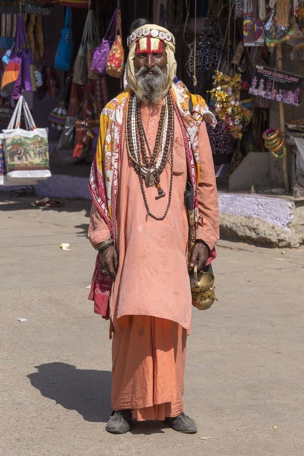 Sadhu indien - homme saint Pushkar, Inde image libre de droits