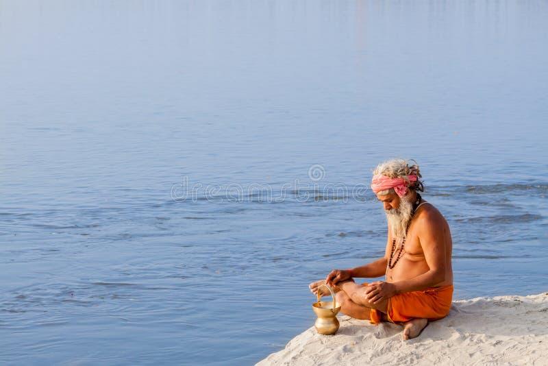 Sadhu Meditating stockfotos