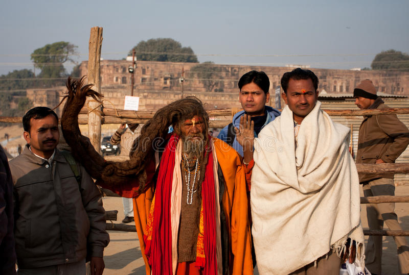 Sadhu met lang haar royalty-vrije stock afbeelding