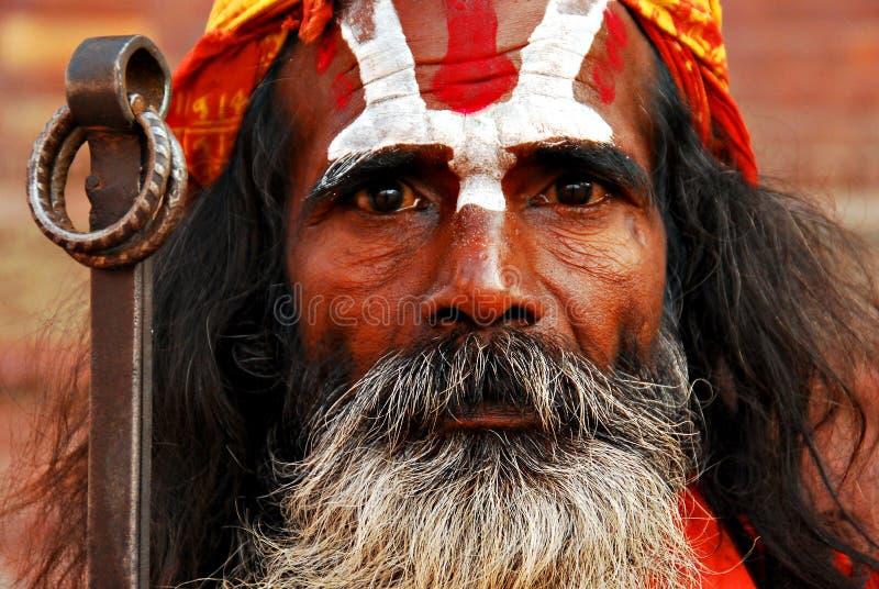 Sadhu - Nepalese holy man. The portrait of Sadhu - the Nepalese holy man. Kathmandu, Nepal stock photos