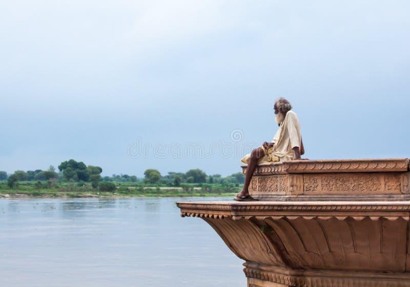 Sadhu no Yamuna fotografia de stock