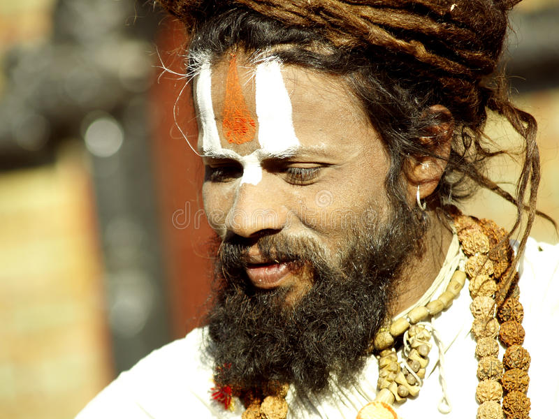A sadhu in Pashupatinath Temple stock photos