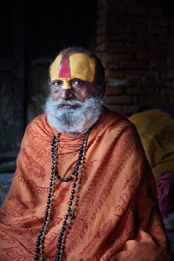 Sadhu at Pashupatinath Temple stock photography