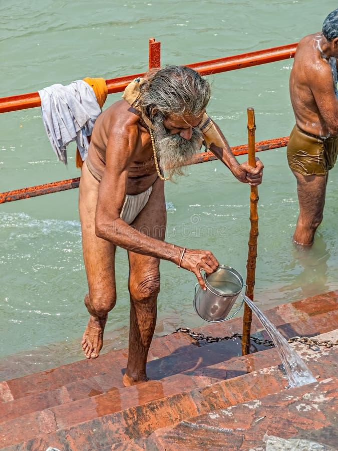Sadhu-Pilger in Haridwar stockfoto
