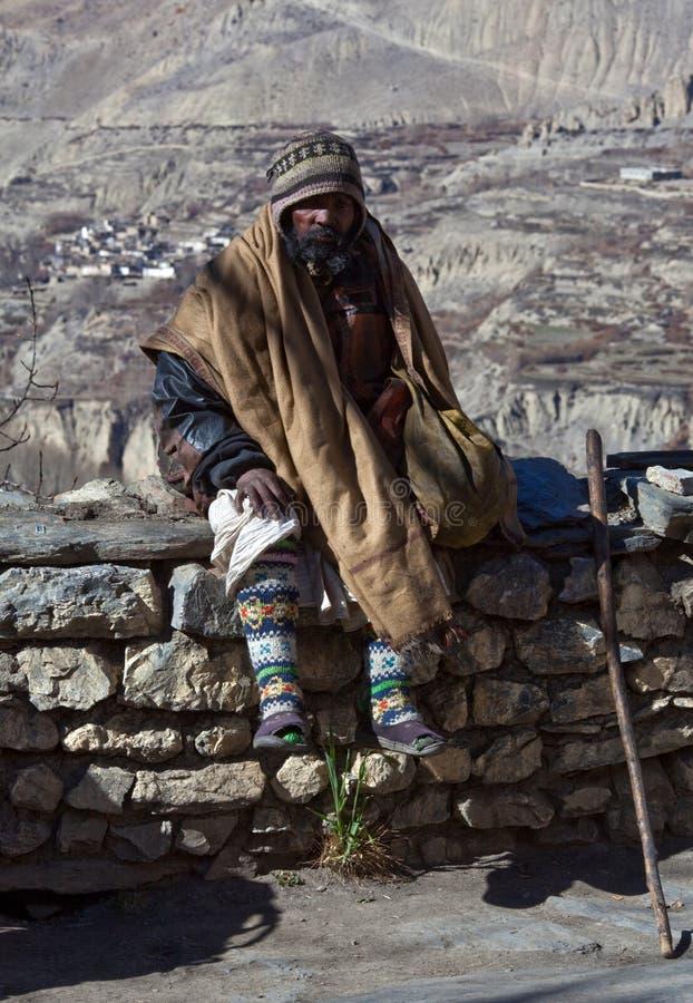 Sadhu Pilgerer in Muktinath, Nepal stockbilder