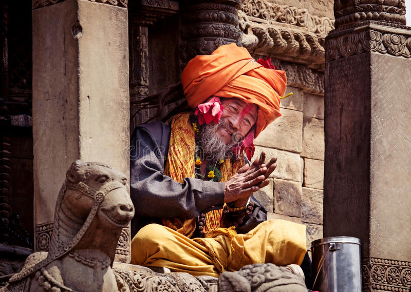 Sadhu with traditional painted face in Bhaktapur, Nepal stock photo
