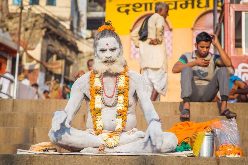 Sadhu in Varanasi stockbilder