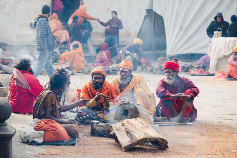 Sadhus, Heilige Mensen bij Mahashivaratri-Festival 2018 in Pashupatinath royalty-vrije stock fotografie