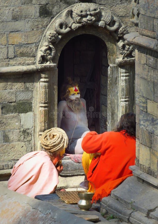 Sadhus, homens santamente, no templo de Pashupatinath, Kathmandu, Nepal fotografia de stock royalty free