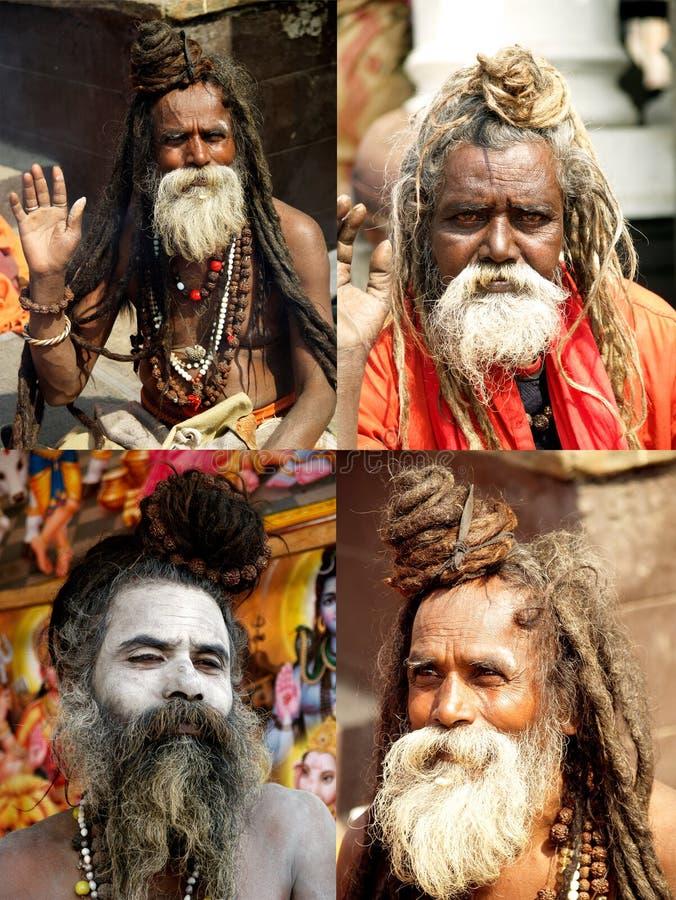 Sadhus in Shivaratri in pashupatinathTempel royalty-vrije stock foto's