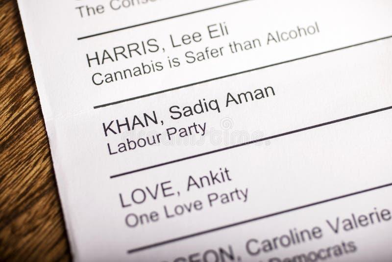 Sadiq Khan sur un bulletin de vote image libre de droits