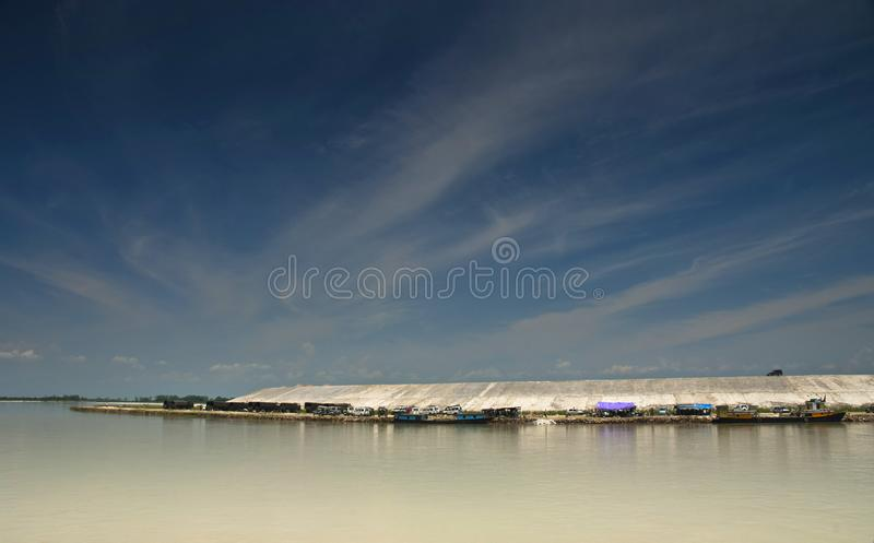 Sadiya ghat with vehicles and boats, Brahmaputra river view in Assam, India.  stock images