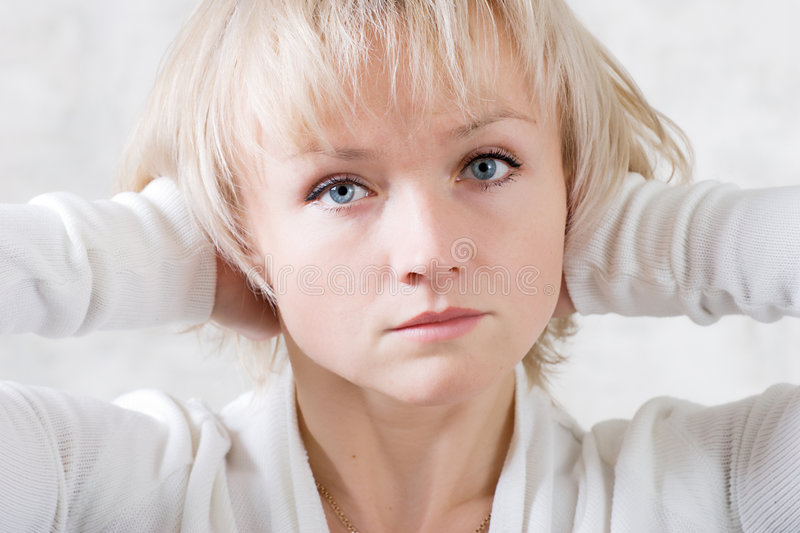 Download Sadness girl stock image. Image of cute, calm, hands, eyes - 2083505