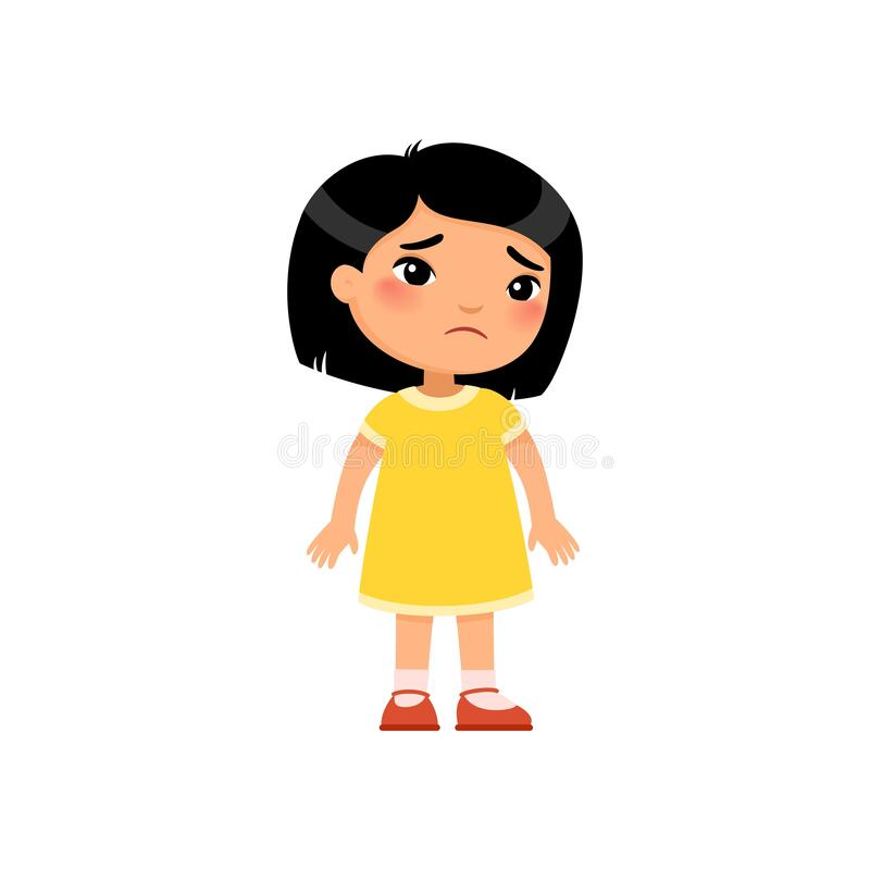 Free Sadness Little Asian Girl Flat Vector Illustration. Upset Child Standing Alone Cartoon Character Stock Images - 185754964