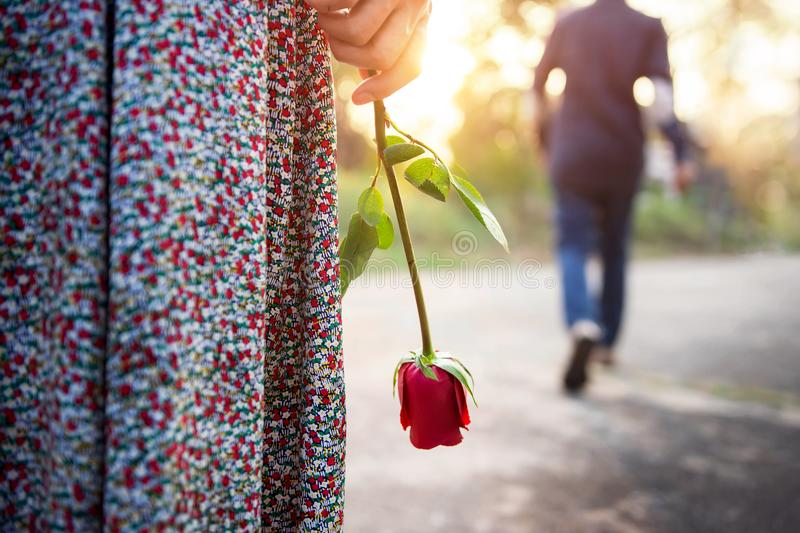 Sadness Love in Ending of Relationship Concept, Broken Heart Woman Standing with a Red Rose on Hand, Blurred Man in Back Side stock photography