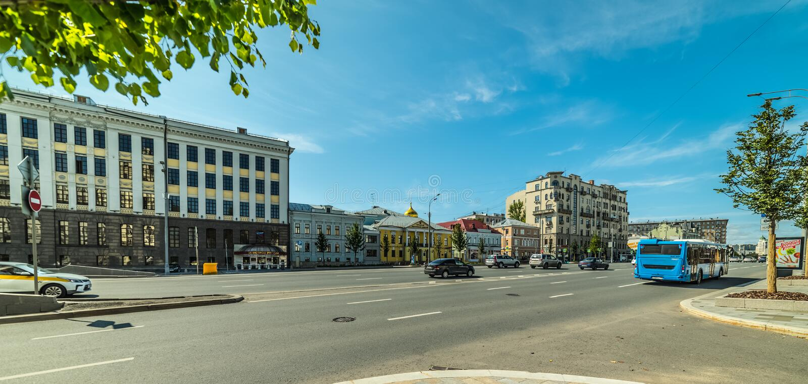 Sadovaya-Samotyochnaya street. the Beautiful places that fascinate tourists.City the Moscow. City the Moscow .Sadovaya-Samotyochnaya street,the Beautiful places stock images