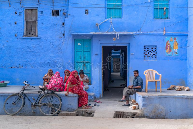 Sadri/India-12 07 2019: De härliga gatorna av Sadri royaltyfri foto