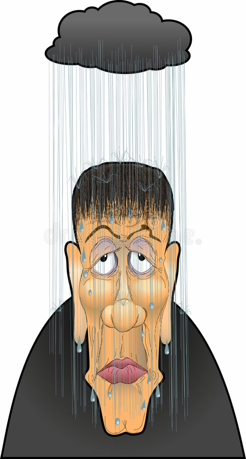 Sadsack_02. Raster cartoon graphic depicting a sad-faced man vector illustration