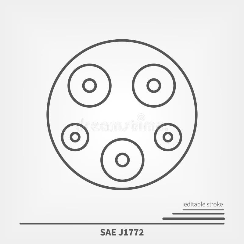 SAE J1772 los E.E.U.U. y estándar del cargador de Japón Línea movimiento editable de la bruja del icono stock de ilustración
