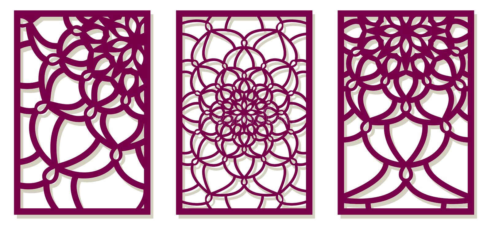 Saet of Vector Laser cut panels. Abstract Pattern template for d royalty free illustration