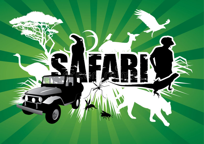 Safari. Graphic composition with several animal silhouettes, a man and a Jeep, all surrounding the word safari
