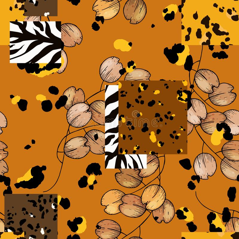 Safari Africa design of leopard and tiger, zebra. Vector. Modern animal skin prints and flower hand drawn seamless pattern stock illustration