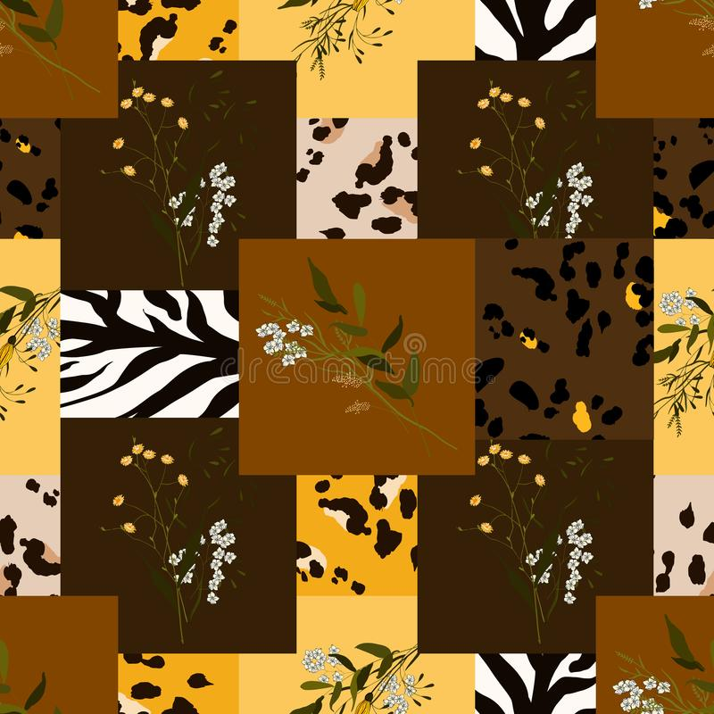 Safari Africa design of leopard and tiger, zebra. Vector. Modern animal skin prints and flower hand drawn seamless pattern vector illustration