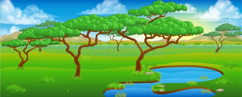 Safari African Savannah Scene Landscape royaltyfri illustrationer