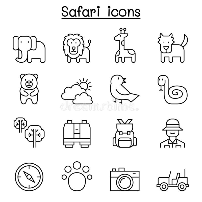 Safari, animal, faune, icône animale réglée dans la ligne style mince illustration libre de droits