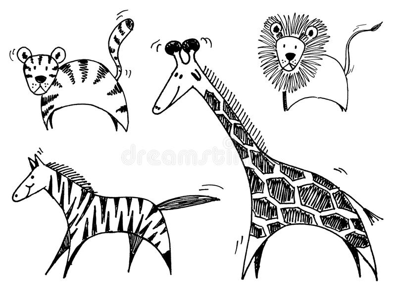 Download Safari animals stock vector. Image of giraffe, doodle - 10672026