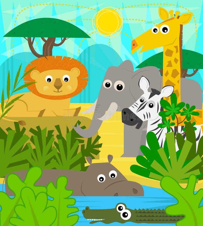 Safari Animals royalty-vrije illustratie