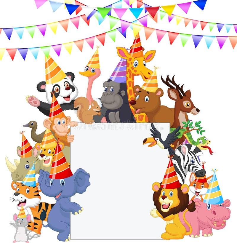 Safari Animals-beeldverhaal die Partijhoeden dragen vector illustratie