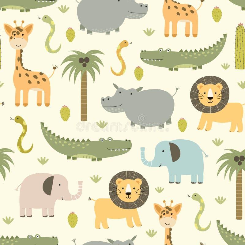 Safari animals seamless pattern with cute hippo, crocodile, lion vector illustration