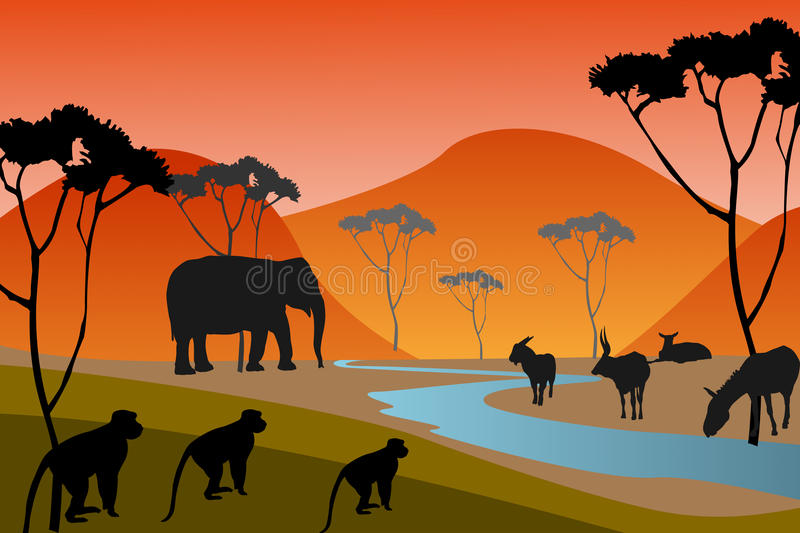 Download Safari stock illustration. Illustration of girafe, kenya - 33332995