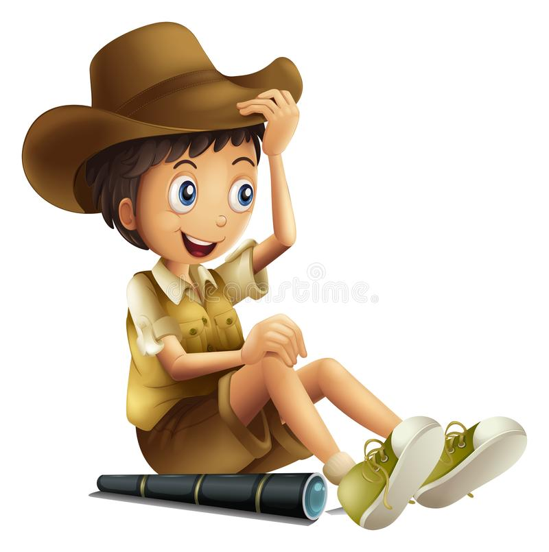 A Safari Boy with Binocular on White Background vector illustration