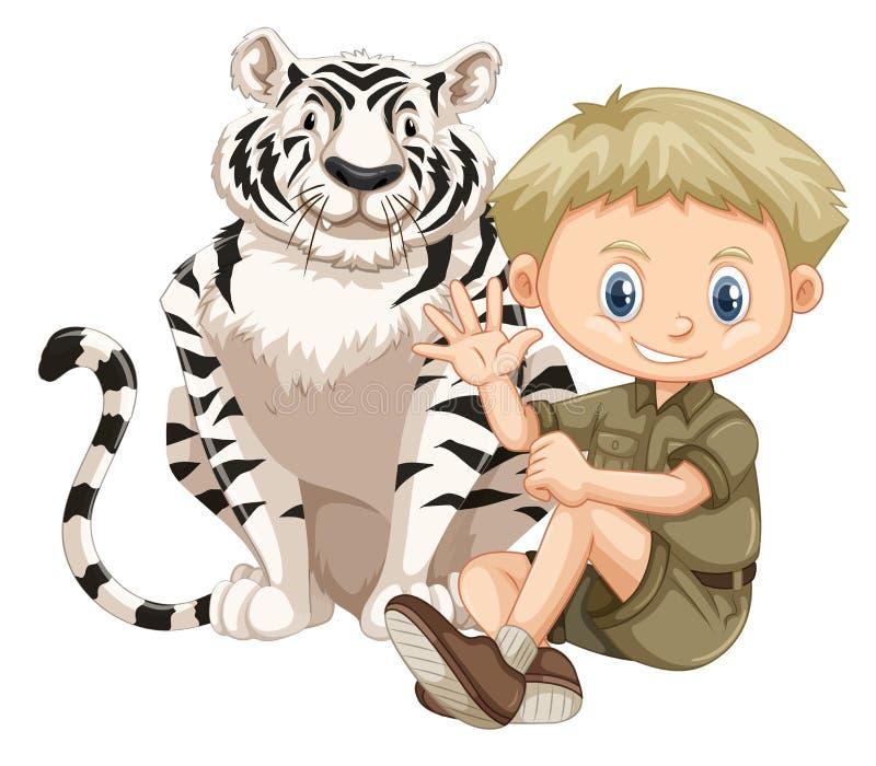 Safari Boy en een Tijger stock illustratie