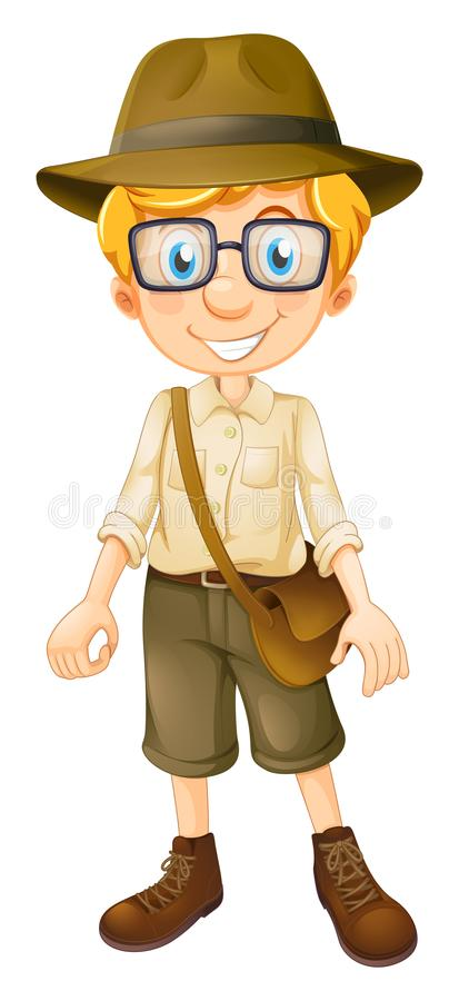Safari Boy Wearing Glasses stock illustratie