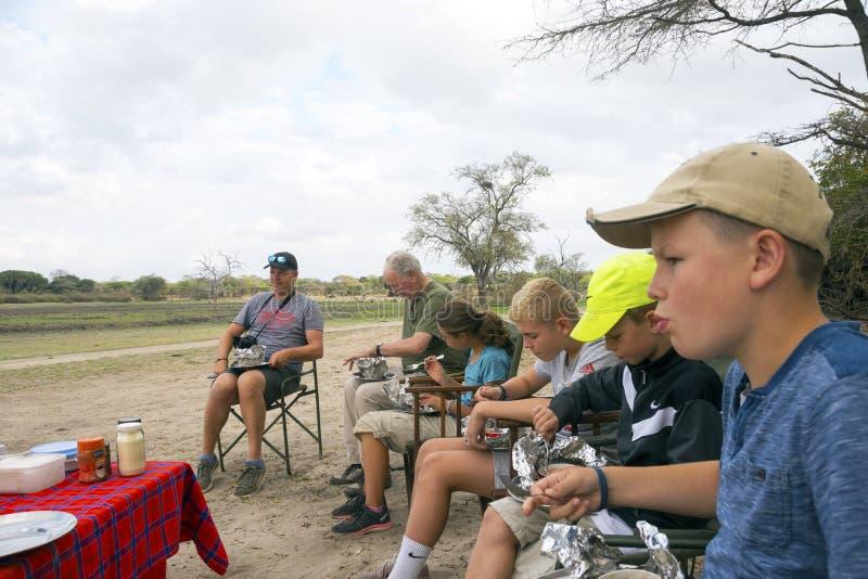 Safari breakfast in Selous Game Reserve, Tanzania. royalty free stock photos