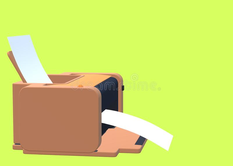 A safari brown printer fed by white papers against a bright luminous green yellow backdrop stock photo