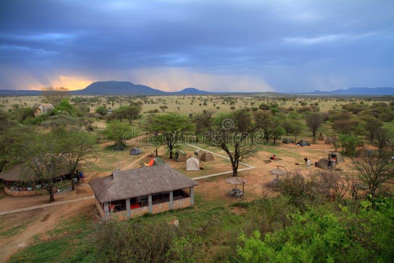 Safari Camp under Storm stock image