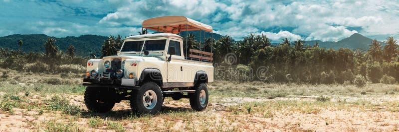 Safari car on offroad ,adventure trail stock photo